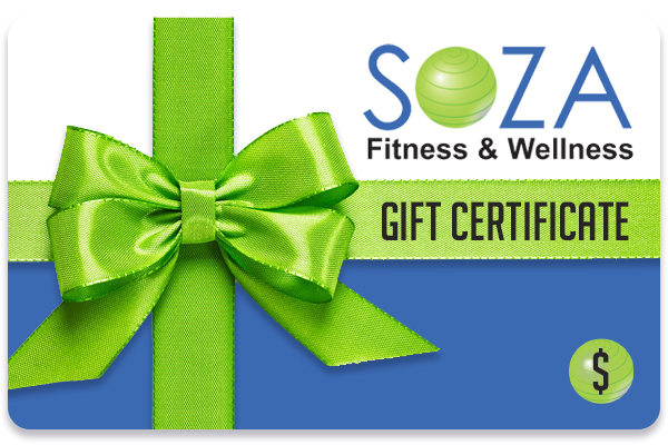 A SOZA Fitness and Wellness Gift Card wrapped in a green bow