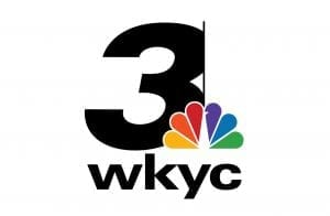 Large number three with the NBC logo: a peacock that has rainbow feathers and then WKYC